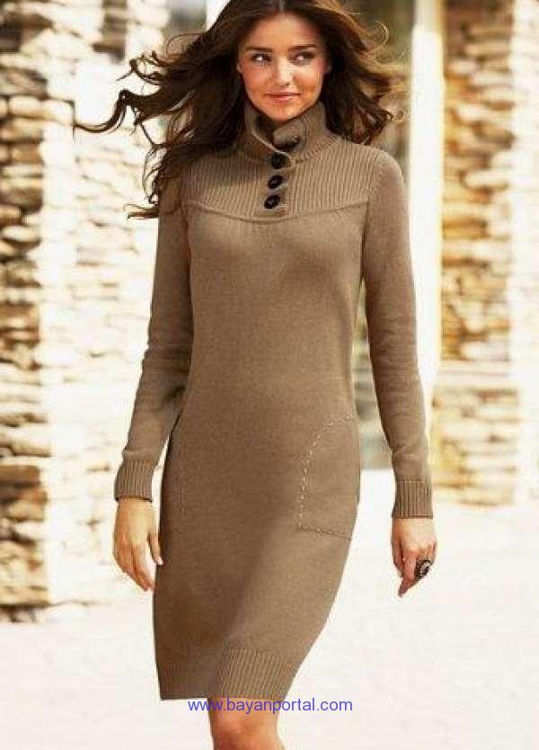 fbd1a3b51a576 kahverengi düğmeli kışlık elbise modelleri - Bayan Portal